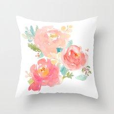 Watercolor Peonies Summer Bouquet Throw Pillow
