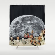 Shower Curtain featuring MOONRISE  by Beth Hoeckel Collage…