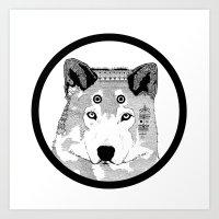 Hippie Wolf Art Print