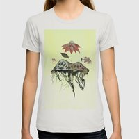 Uprooted Flowers Womens Fitted Tee Silver SMALL
