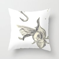 fishing in the fish tank Throw Pillow