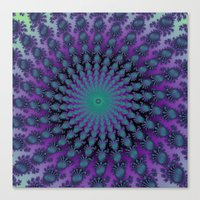 Cool Hued Purple Blue Braided Rug Fractal Canvas Print