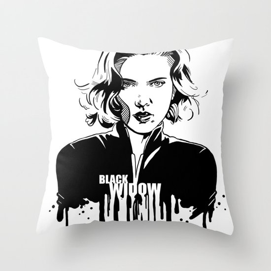 Avengers in Ink: Black Widow Throw Pillow