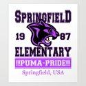 Springfield Elementary Pumas  |  Simpsons Art Print