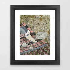 Autumn picnic with my cat Framed Art Print