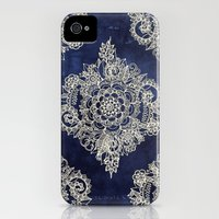 iPhone 4s & iPhone 4 Cases featuring Cream Floral Moroccan Pattern on Deep Indigo Ink by micklyn