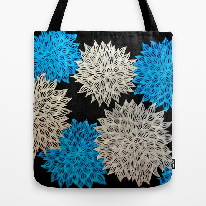 Blue silver abstract acrylic painting tote bag