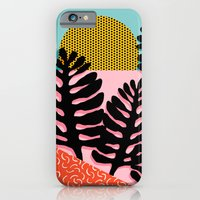 iPhone Cases featuring B.F.F. - throwback 80s style memphis design neon art print hipster brooklyn palm springs resort patt by Wacka