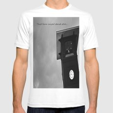 B&W Clock Tower White Mens Fitted Tee SMALL