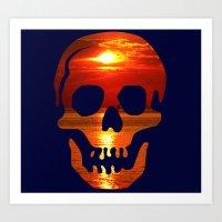 Glowing Skull Art Print
