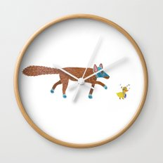 fox and the duck Wall Clock