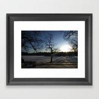 Snowy Sunset Framed Art Print