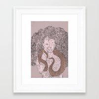Snake and Sprite: Pink Framed Art Print