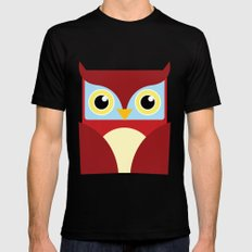 The Red Owl. Black SMALL Mens Fitted Tee