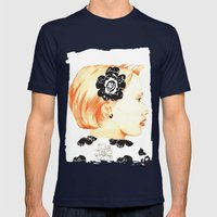 Illustration with black and white Mens Fitted Tee Navy SMALL