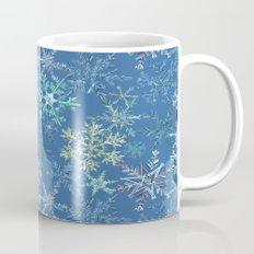 icy snowflakes on blue Mug