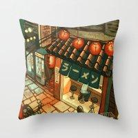 Ramen in the Alley Throw Pillow