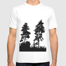 pine trees SMALL White Mens Fitted Tee