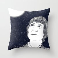 Man And Moon Throw Pillow