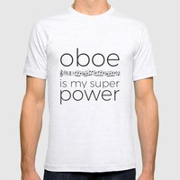 Oboe is my super power (white) Mens Fitted Tee Ash Grey SMALL