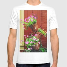 Potted Petunias Mens Fitted Tee SMALL White