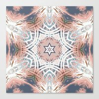 Tribe Coral and Steel Canvas Print