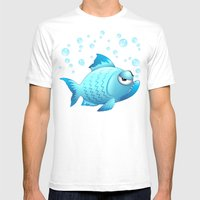 Grumpy Fish Cartoon Mens Fitted Tee White SMALL