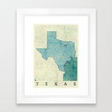 Texas State Map Blue Vintage Framed Art Print