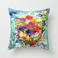 Skull Botonical Throw Pillow