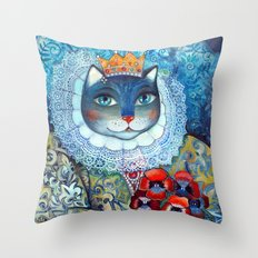 Qween Cat - Tudor Cat Throw Pillow