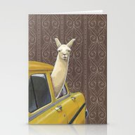 Stationery Cards featuring Taxi Llama by Jason Ratliff