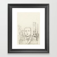 Cubic heads Framed Art Print