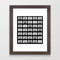 Black and White Tapes Framed Art Print