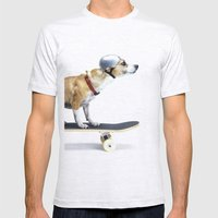 Skate Punk - Skateboarding Chihuahua Dog inTiny Helmet Mens Fitted Tee Ash Grey SMALL