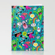 Stationery Cards featuring Monster Party by Chris Piascik