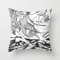 Secret Path / Original A4 Illustration / Pen & Ink Throw Pillow