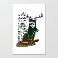 Hipster Cat Giving Smart… Canvas Print