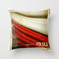 STICKER OF POLAND Flag Throw Pillow