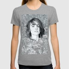 White Moon Garden Womens Fitted Tee Tri-Grey SMALL