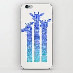 Giraffes – Blue Ombré iPhone & iPod Skin