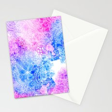 Bright hand drawn floral pink blue watercolor pattern Stationery Cards