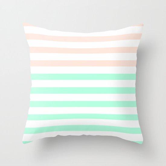 MINT & PEACH STRIPES Throw Pillow