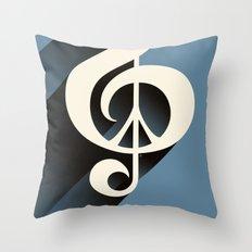 Steal Blue Retro Music & Peace Throw Pillow
