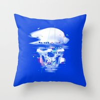 Blue glitch of death Throw Pillow