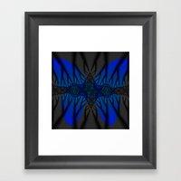 Blue Fractal Butterfly Framed Art Print