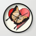 Butterfly over a heart, a symbol of romance. Wall Clock