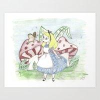 alice in wonderland Art Prints featuring Wonderland by Emely Kransvik