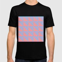 Pink Blue Peach Houndstooth /// www.pencilmeinstationery.com Mens Fitted Tee Black SMALL