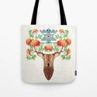 Deer Flowers Tote Bag