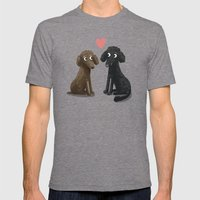 Cute Dog Illustration- Poodles Mens Fitted Tee Tri-Grey SMALL